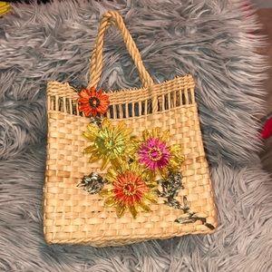 Anthro floral woven handbag appliqué bag